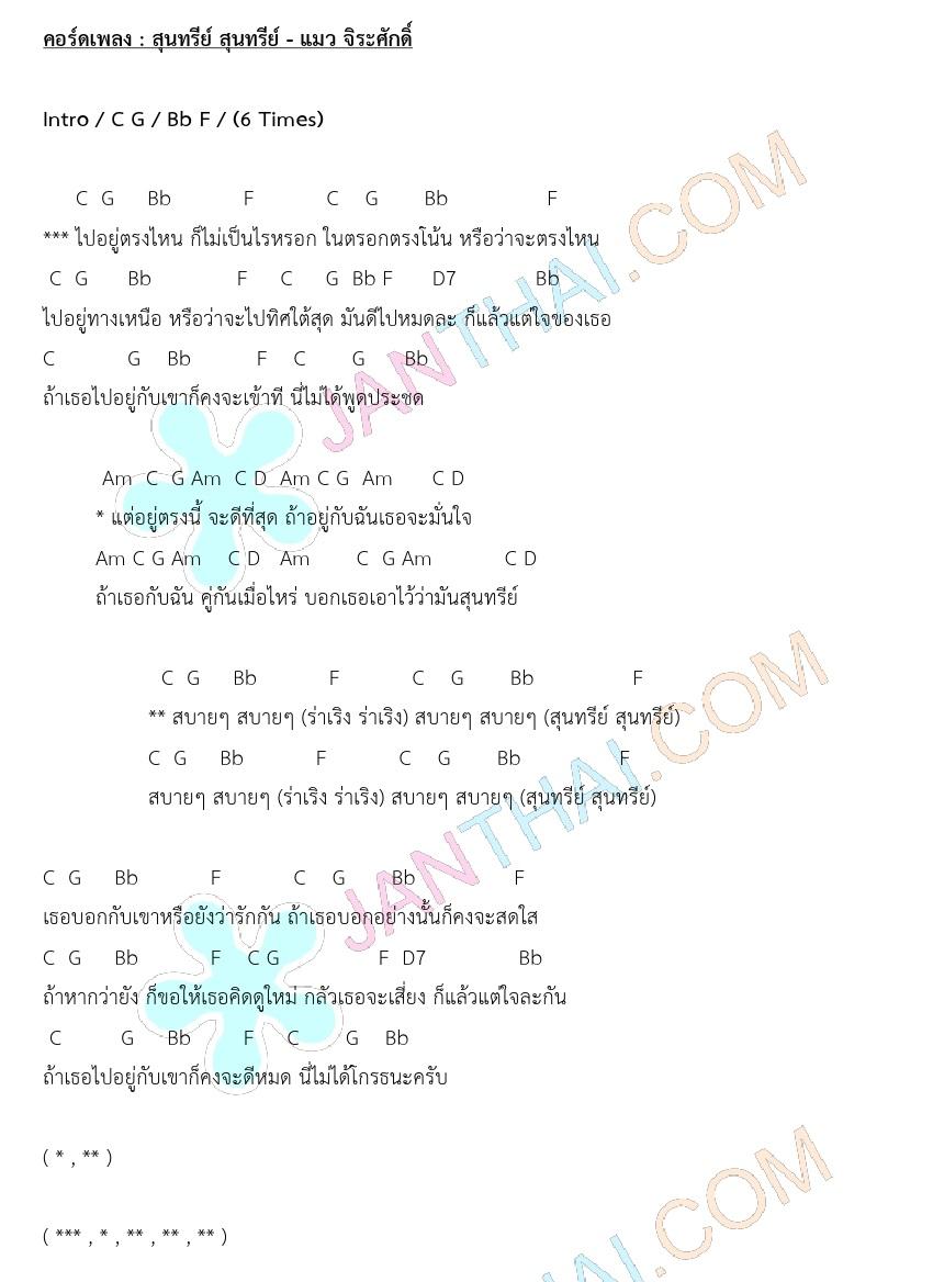 คอร์ด สุนทรีย์ สุนทรีย์ - แมว จิระศักดิ์